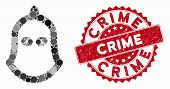 Mosaic Executioner Helmet And Rubber Stamp Seal With Crime Caption. Mosaic Vector Is Formed With Exe poster