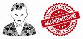 Mosaic Vampire And Grunge Stamp Seal With Halloween Costume Caption. Mosaic Vector Is Formed From Va poster