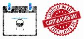 Mosaic Helicopter Calendar Day And Rubber Stamp Seal With Capitulation Day Caption. Mosaic Vector Is poster