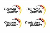 Set Of Four German Icons, German Quality And German Product In English And German, Premium Quality S poster