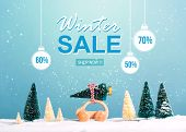 Winter Sale Message With Little Car Carrying A Christmas Tree poster