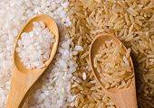 stock photo of rice  - Natural white and brown long rice in wood spoons - JPG