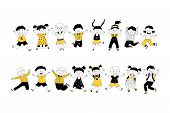 Cheerful Children Jumping Cartoon Vector Illustrations Set. Cute Kids, Classmates Together On White  poster