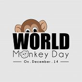 World Monkey Day Typography With A Monkey Peeking From Above Text poster