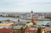 Aerial View From Buda Castle Hill On The Building Of The Hungarian Parliament And Danub River poster