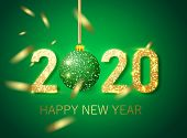 Happy New Year 2020 Banner.golden Green Vector Luxury Text 2020 Happy New Year. Gold Festive Numbers poster