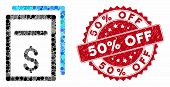 Mosaic Price Copy And Corroded Stamp Seal With 50 Percent Off Caption. Mosaic Vector Is Designed Wit poster