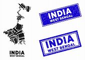 Mosaic West Bengal State Map And Rectangular Seal Stamps. Flat Vector West Bengal State Map Mosaic O poster