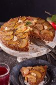 French Sweet Pie Tart Tatin Apple Cake Upside Down  Over On Gray Concrete Background. poster