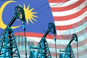 Malaysia Oil And Petrol Industry Concept, Industrial Illustration On Malaysia Flag Background. 3d Il poster