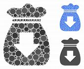 Profit Bag Mosaic Of Round Dots In Different Sizes And Color Tints, Based On Profit Bag Icon. Vector poster