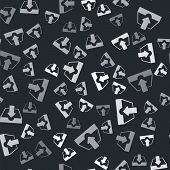 Grey Download Inbox Icon Isolated Seamless Pattern On Black Background. Vector Illustration poster