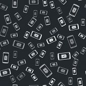 Grey Smartphone Battery Charge Icon Isolated Seamless Pattern On Black Background. Phone With A Low  poster