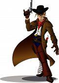 stock photo of gunslinger  - Manga style Gunslinging cowboy with long coat welding a revolver - JPG