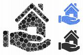 Home Offer Mosaic Of Round Dots In Different Sizes And Color Hues, Based On Home Offer Icon. Vector  poster