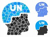 United Nations Soldier Helmet Composition Of Circle Elements In Different Sizes And Color Tinges, Ba poster