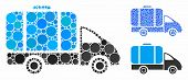 Tank Truck Mosaic Of Round Dots In Different Sizes And Shades, Based On Tank Truck Icon. Vector Roun poster