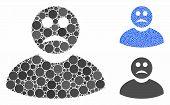 Sad Man Composition Of Circle Elements In Different Sizes And Color Tinges, Based On Sad Man Icon. V poster