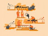 Metal Production Manufacture, Heavy Industry, Metallurgy Concept. Process Of Mining And Manufacturin poster
