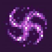 Graphics Of 8 Bit Pixel Game, Isolated Icon Of Black Hole Celestial Body Of Rounded Shape With Rays, poster