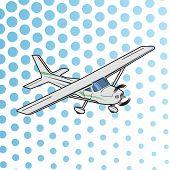 Small Plane Vector Illustration. Single Engine Propelled Aircraft. Pop Art Cartoon Style poster