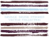 Long Ink Brush Strokes Isolated Design Elements. Set Of Paint Lines. Artistic Stripes, Textured Pain poster