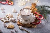 Christmas Holiday Cacao. Hot Chocolate Cacao Drinks With Marshmallows In Christmas Mugs On Grey Back poster