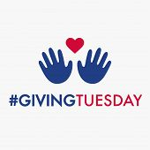 Giving Tuesday, Global Day Of Charitable Giving. Helping Hand With Heart Shape. Charity Campaign Ban poster