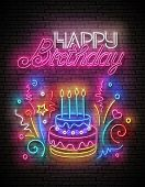Glow Greeting Card With Cake, Candles, Confetti And Happy Birthday Inscription. Neon Lettering. Shin poster