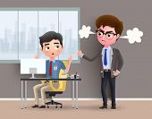 Angry Boss Business Character Vector Concept. Office Employee Caught By Angry Boss While Working In  poster