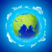 picture of eastern hemisphere  - Beautiful Earth with clouds - JPG