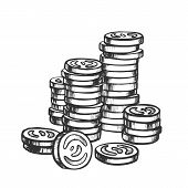 Coins Pile Stacked, Metal Money Monochrome Vector. Stack Of Metallic Coins For Payment And Buying. F poster