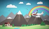 Aviator Driving Propeller Plane On Background Of Mountain Landscape. Cartoon Summer Field With Small poster