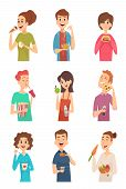 People Eating. Hungry Persons With Different Foods And Drinks Cake Spaghetti Fruits Hotdog Burger Ve poster