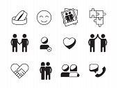 Friendship Icon. Love Relationship Symbols Family Hope Mutuality Handshake Vector Collection. Illust poster