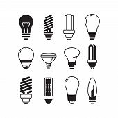 Bulb Icons. Lights Energy Modern Lamp Vector Bulb Collection. Illustration Light Bulb Power, Energy  poster