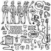 Indie Rock Music Set. Black And White Illustration Of Musicians And Related Objects Such As Guitar,  poster
