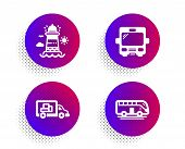 Truck Transport, Lighthouse And Bus Icons Simple Set. Halftone Dots Button. Bus Tour Sign. Delivery, poster