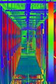 Thermal Image With A Thermal Imaging Camera From A Cold Aisle With Server Racks In A Data Center poster