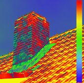 Thermal Image With A Thermal Imaging Camera From A Chimney poster