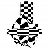 Chess Waves Board. Optical Illusion Sphere. Abstract 3D Black And White Illusions. Vector Illustrati poster