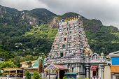Hindu Temple With Colorful Facade Called Arulmihu Navasakti Vinayagar Temple In Victoria On Seychell poster