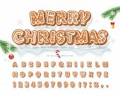 Christmas Gingerbread Cookie Font. Bisquit Traditional Decorative Alphabet. Hand Drawn Cartoon Color poster