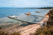 Scenic Mornington Peninsula Coastline With Beautiful Wooden Piers And Sheds. Sorrento, Victoria, Aus poster