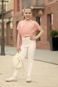 True Style Never Dies. Adorable Small Girl In Street Fashion Style On Summer Day. Little Cute Child  poster