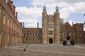 stock photo of quadrangles  - The imposing quadrangle at the historic Eton College - JPG