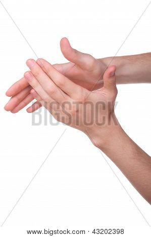 Hands Applauding, Isolated On A White Background
