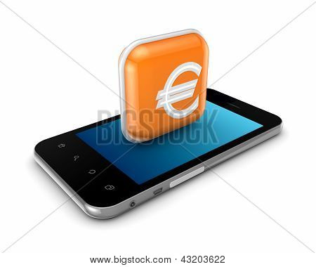 Mobile phone with a symbol of euro.