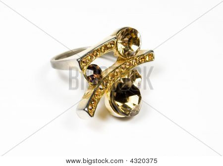 Original Ring From Gold With Several Colour Stones