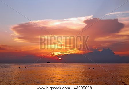 Beautiful Sunset In Tropical Sea